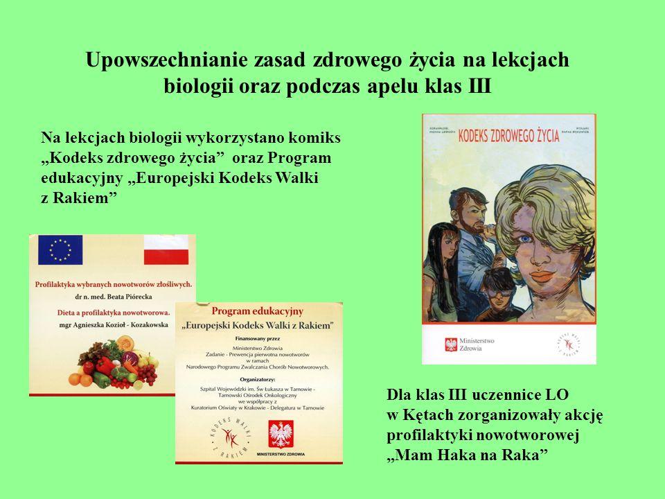 Upowszechnianie zasad zdrowego życia na lekcjach biologii oraz podczas apelu klas III Na lekcjach biologii wykorzystano komiks Kodeks zdrowego życia o