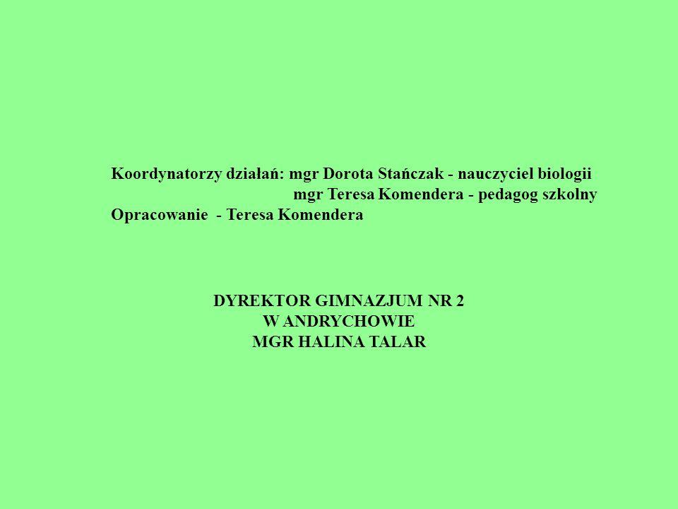 Koordynatorzy działań: mgr Dorota Stańczak - nauczyciel biologii mgr Teresa Komendera - pedagog szkolny Opracowanie - Teresa Komendera DYREKTOR GIMNAZ