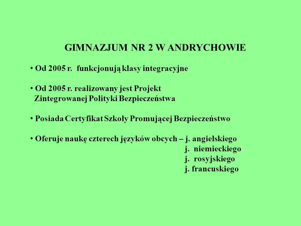 GIMNAZJUM NR 2 W ANDRYCHOWIE Od 2005 r. funkcjonują klasy integracyjne Od 2005 r. realizowany jest Projekt Zintegrowanej Polityki Bezpieczeństwa Posia