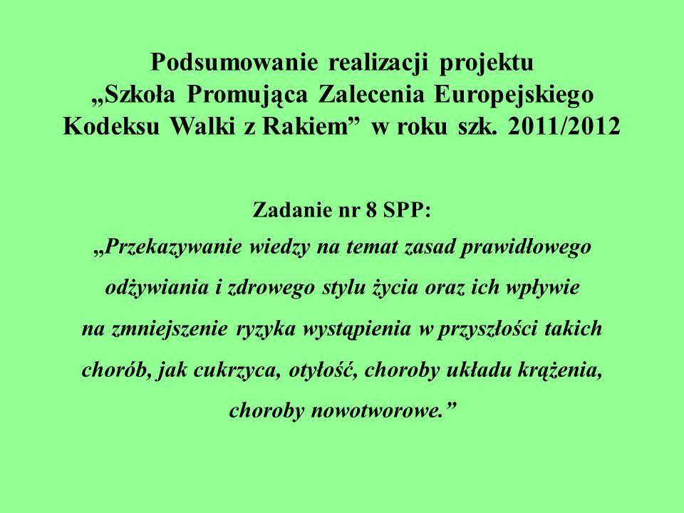Podsumowanie realizacji projektu Szkoła Promująca Zalecenia Europejskiego Kodeksu Walki z Rakiem w roku szk. 2011/2012 Zadanie nr 8 SPP: Przekazywanie