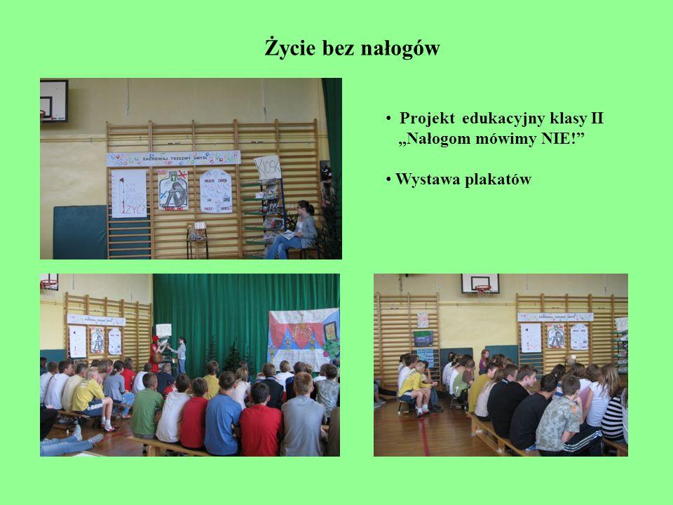 Projekt edukacyjny klasy II Nałogom mówimy NIE! Wystawa plakatów Życie bez nałogów
