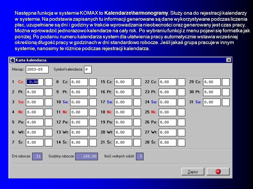Następna funkcja w systemie KOMAX to Kalendarze\harmonogramy. Służy ona do rejestracji kalendarzy w systemie. Na podstawie zapisanych tu informacji ge