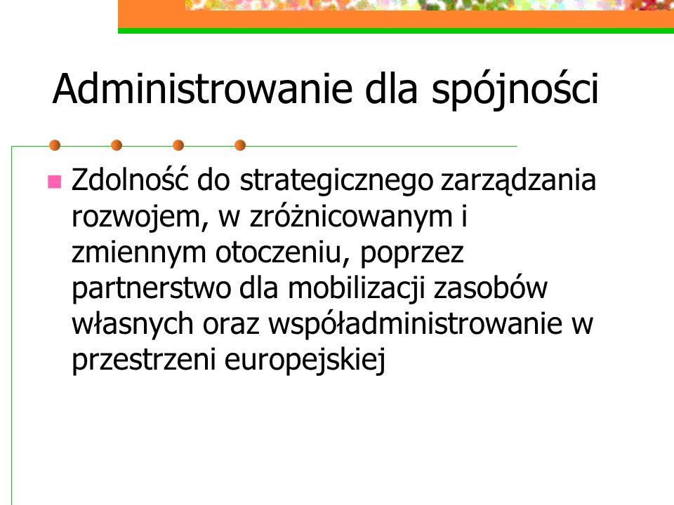 Administrowanie dla spójności Zdolność do strategicznego zarządzania rozwojem, w zróżnicowanym i zmiennym otoczeniu, poprzez partnerstwo dla mobilizac