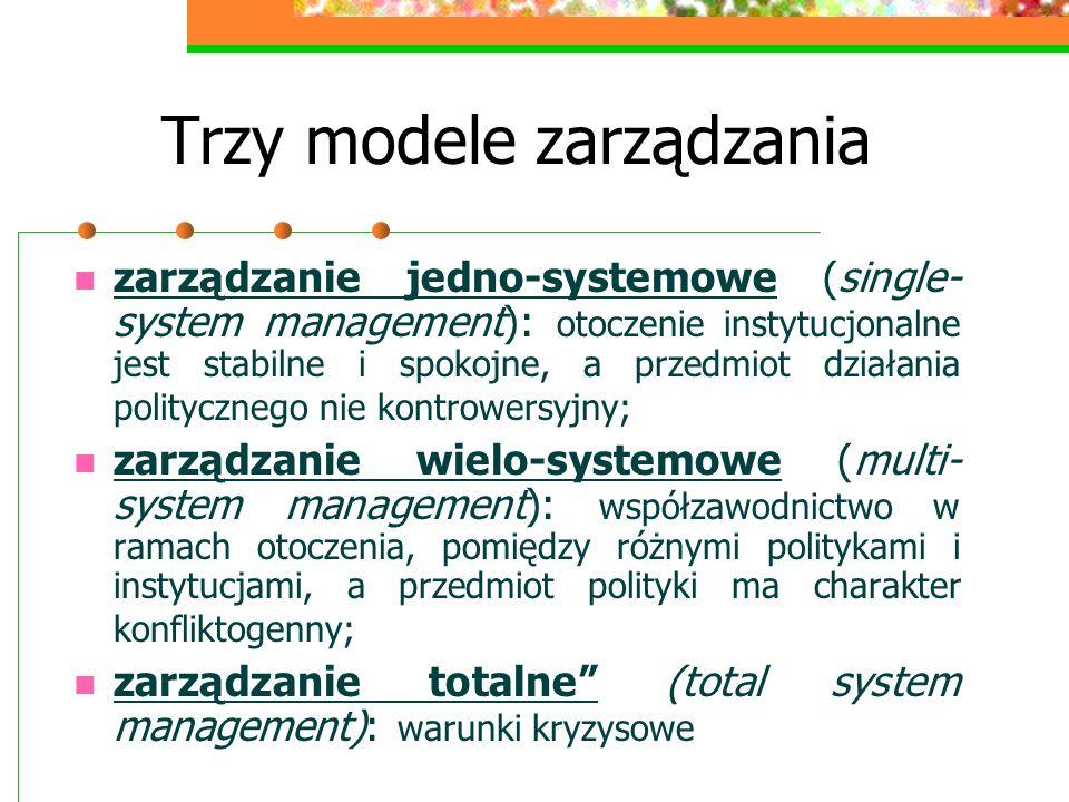 Trzy modele zarządzania zarządzanie jedno-systemowe (single- system management): otoczenie instytucjonalne jest stabilne i spokojne, a przedmiot dział