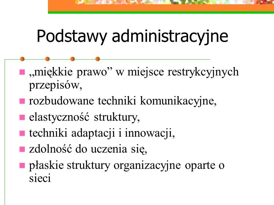 Techniki administracyjne Zarządzanie zasobami resource-matching Delegacja uprawnień Horyzontalna i wertykalna koordynacja Odpowiedzialność – monitoring – kontrola Techniki zarzadzania strategicznego Techniki prognostyczne (szacowanie prawdopodobieństwa) Studia na współzależnościami