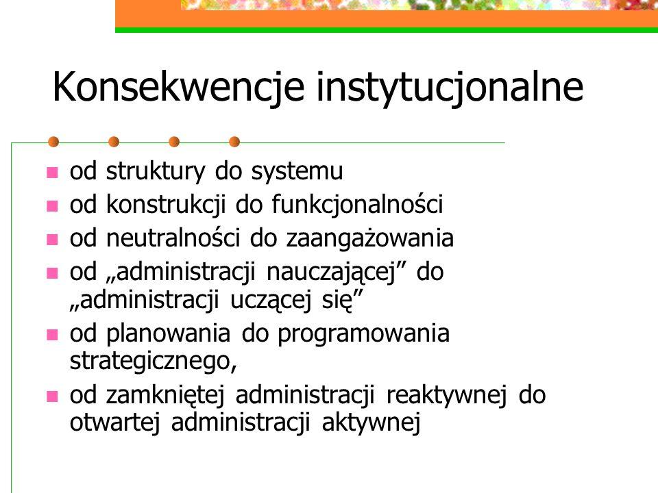 Konsekwencje instytucjonalne od struktury do systemu od konstrukcji do funkcjonalności od neutralności do zaangażowania od administracji nauczającej d