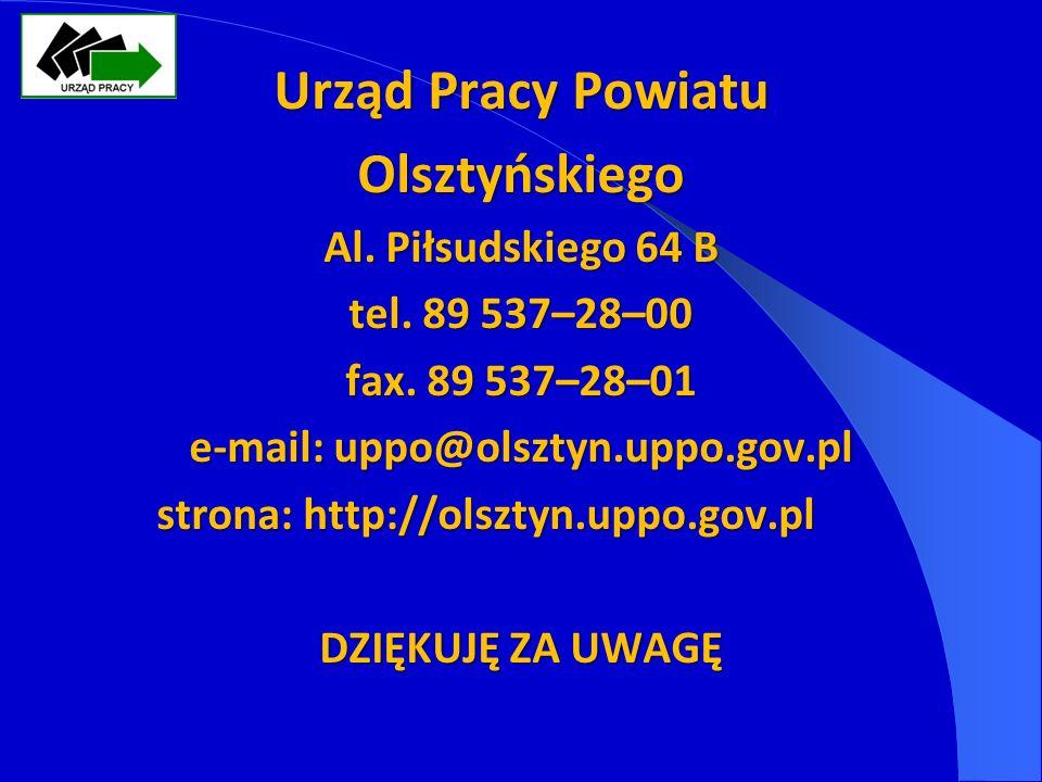 Urząd Pracy Powiatu Olsztyńskiego Al. Piłsudskiego 64 B tel.