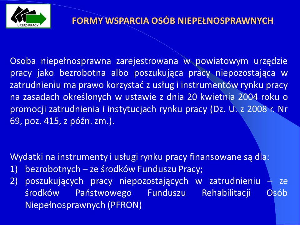 FORMY WSPARCIA OSÓB NIEPEŁNOSPRAWNYCH Osoba niepełnosprawna zarejestrowana w powiatowym urzędzie pracy jako bezrobotna albo poszukująca pracy niepozostająca w zatrudnieniu ma prawo korzystać z usług i instrumentów rynku pracy na zasadach określonych w ustawie z dnia 20 kwietnia 2004 roku o promocji zatrudnienia i instytucjach rynku pracy (Dz.