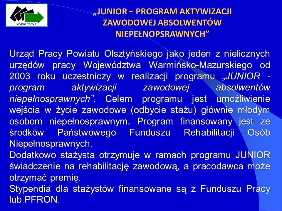 JUNIOR – PROGRAM AKTYWIZACJI ZAWODOWEJ ABSOLWENTÓW NIEPEŁNOPSRAWNYCH Urząd Pracy Powiatu Olsztyńskiego jako jeden z nielicznych urzędów pracy Województwa Warmińsko-Mazurskiego od 2003 roku uczestniczy w realizacji programu JUNIOR - program aktywizacji zawodowej absolwentów niepełnosprawnych.