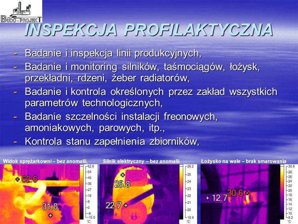 INSPEKCJA PROFILAKTYCZNA -Badanie i inspekcja linii produkcyjnych, -Badanie i monitoring silników, taśmociągów, łożysk, przekładni, rdzeni, żeber radiatorów, -Badanie i kontrola określonych przez zakład wszystkich parametrów technologicznych, -Badanie szczelności instalacji freonowych, amoniakowych, parowych, itp., -Kontrola stanu zapełnienia zbiorników, Widok sprężarkowni – bez anomalii,Silnik elektryczny – bez anomaliiŁożysko na wale – brak smarowania