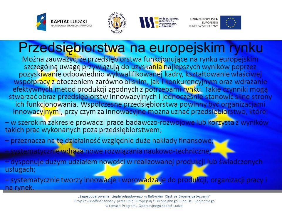 Przedsiębiorstwa na europejskim rynku Można zauważyć, że przedsiębiorstwa funkcjonujące na rynku europejskim szczególną uwagę przywiązują do uzyskania