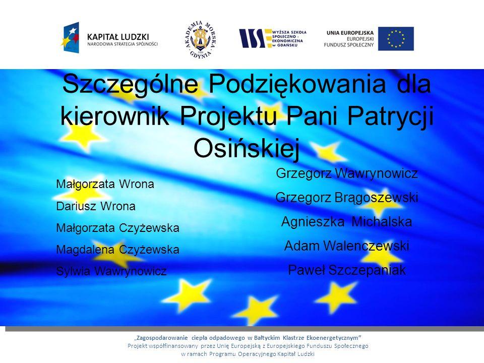 Szczególne Podziękowania dla kierownik Projektu Pani Patrycji Osińskiej Zagospodarowanie ciepła odpadowego w Bałtyckim Klastrze Ekoenergetycznym Proje