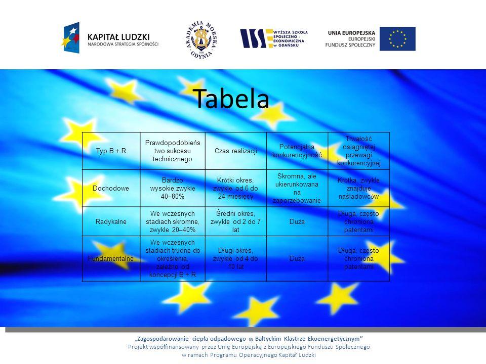 Tabela Zagospodarowanie ciepła odpadowego w Bałtyckim Klastrze Ekoenergetycznym Projekt współfinansowany przez Unię Europejską z Europejskiego Fundusz
