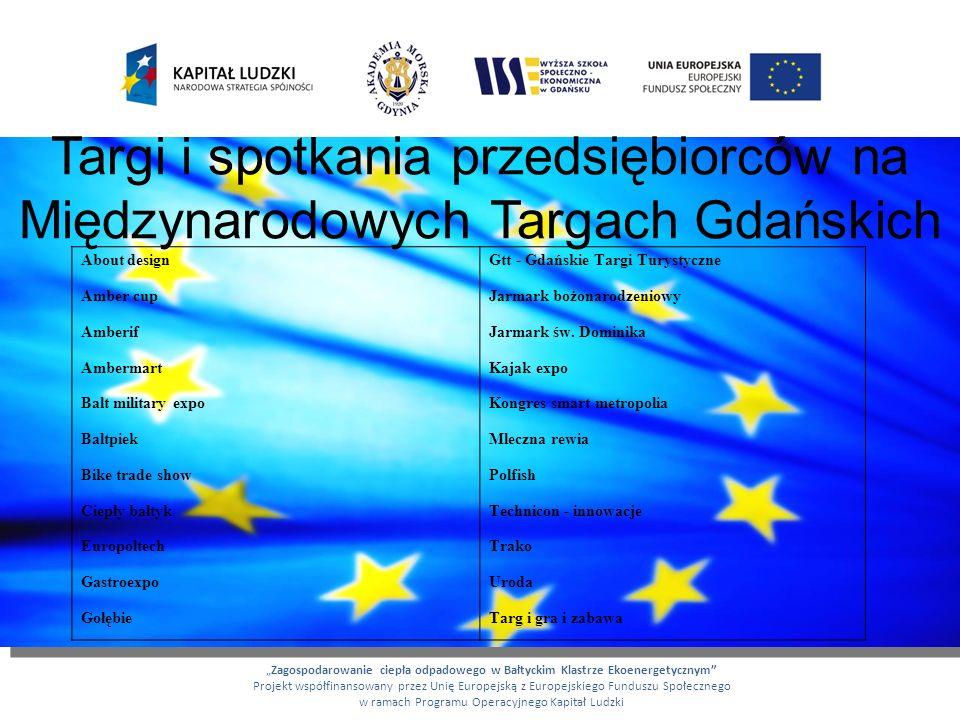 Targi i spotkania przedsiębiorców na Międzynarodowych Targach Gdańskich Zagospodarowanie ciepła odpadowego w Bałtyckim Klastrze Ekoenergetycznym Proje