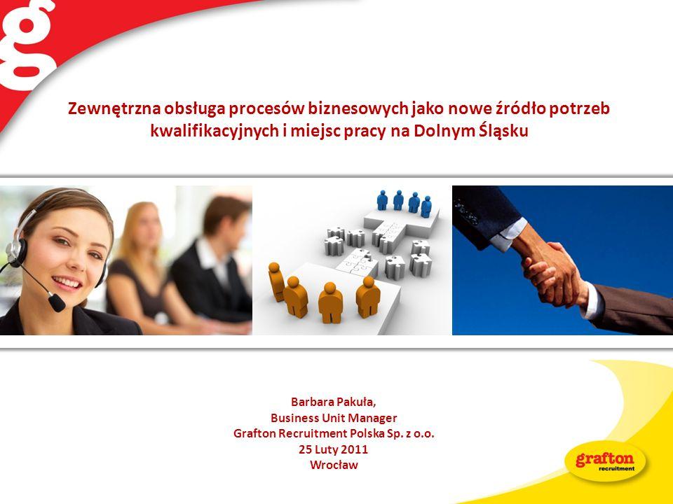 Barbara Pakuła, Business Unit Manager Grafton Recruitment Polska Sp. z o.o. 25 Luty 2011 Wrocław Zewnętrzna obsługa procesów biznesowych jako nowe źró