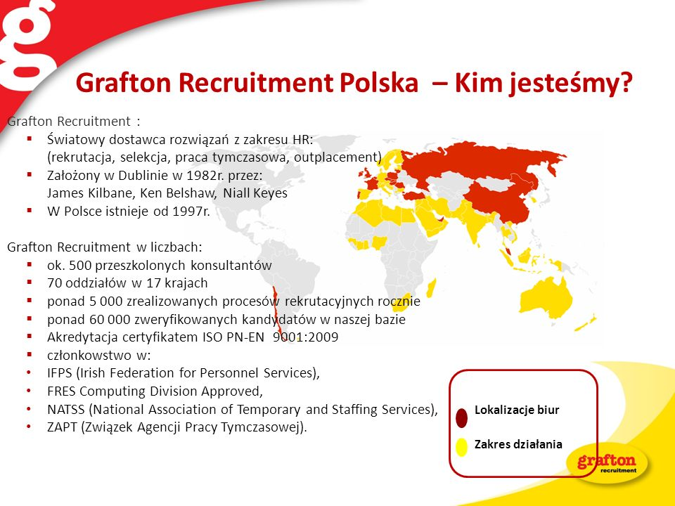 Grafton Recruitment Polska – Kim jesteśmy? Lokalizacje biur Zakres działania Grafton Recruitment : Światowy dostawca rozwiązań z zakresu HR: (rekrutac