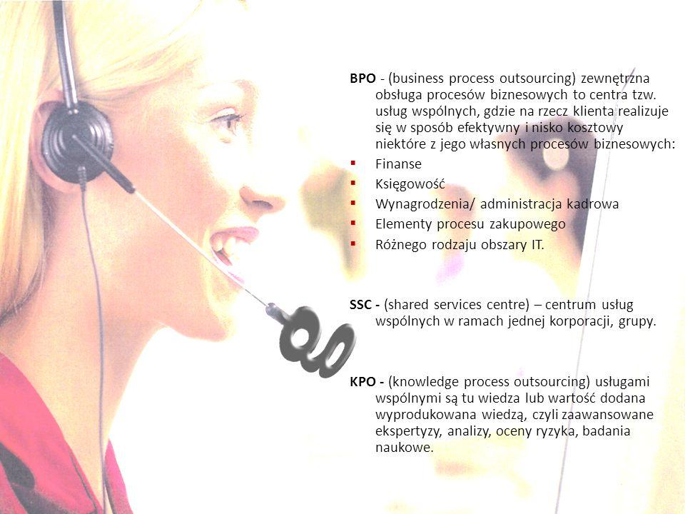 BPO - (business process outsourcing) zewnętrzna obsługa procesów biznesowych to centra tzw. usług wspólnych, gdzie na rzecz klienta realizuje się w sp