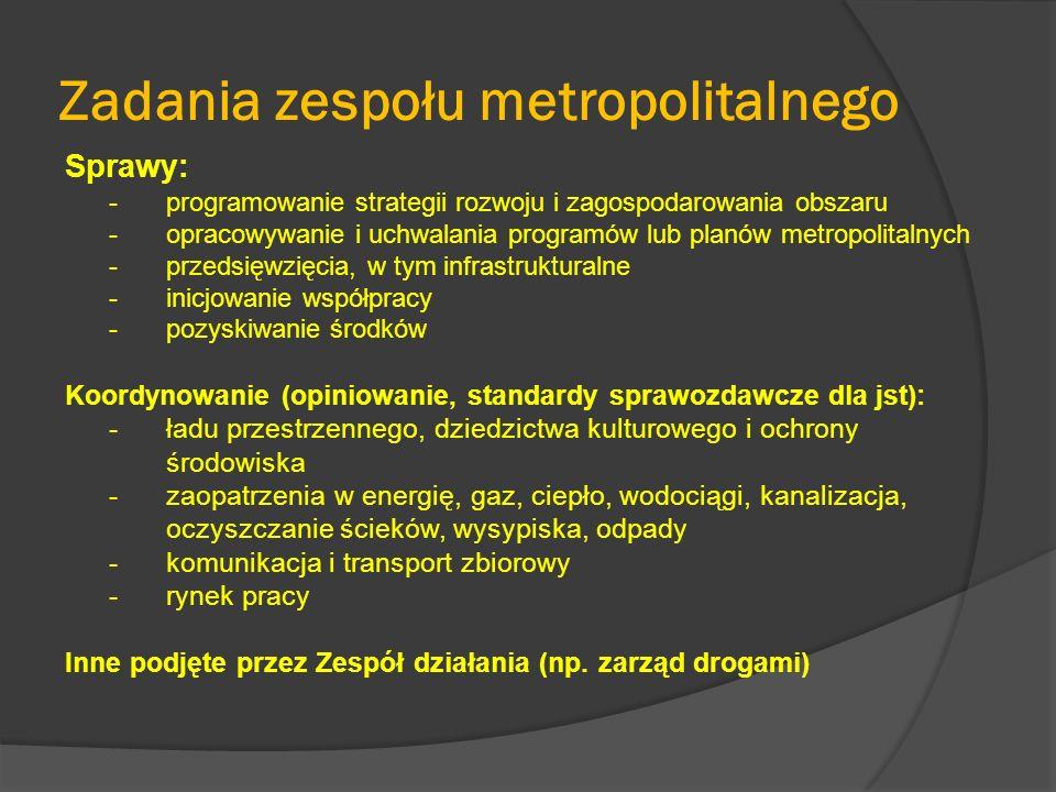 Zadania zespołu metropolitalnego Sprawy: -programowanie strategii rozwoju i zagospodarowania obszaru -opracowywanie i uchwalania programów lub planów metropolitalnych -przedsięwzięcia, w tym infrastrukturalne -inicjowanie współpracy -pozyskiwanie środków Koordynowanie (opiniowanie, standardy sprawozdawcze dla jst): -ładu przestrzennego, dziedzictwa kulturowego i ochrony środowiska -zaopatrzenia w energię, gaz, ciepło, wodociągi, kanalizacja, oczyszczanie ścieków, wysypiska, odpady -komunikacja i transport zbiorowy -rynek pracy Inne podjęte przez Zespół działania (np.