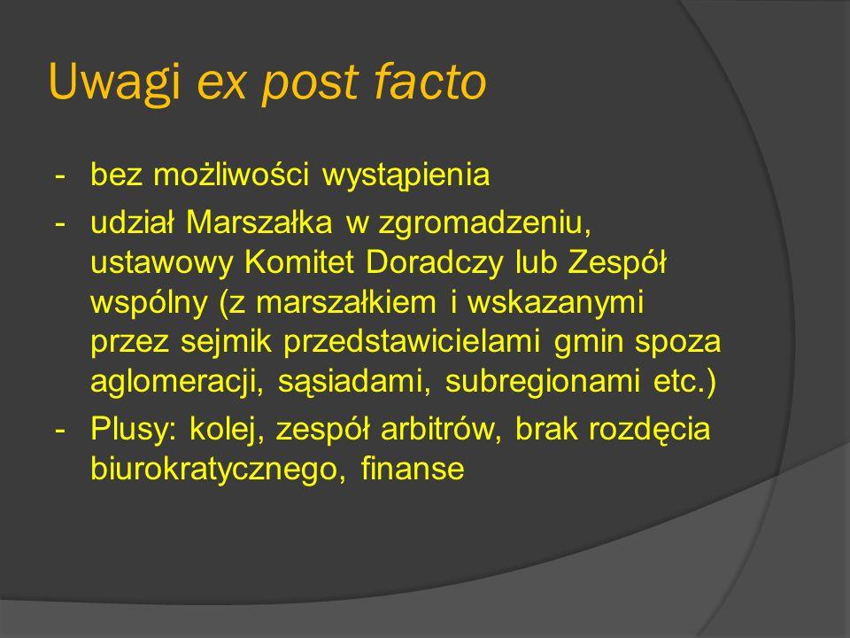 Projekt MSWiA (II wersja, maj 2009) Ustawa o polityce rozwoju miast i współpracy jednostek samorządu terytorialnego w tym zakresie 3 nowe instytucje prawne: - zespół miejski (dobrowolny) - obszar metropolitalny - zespół metropolitalny
