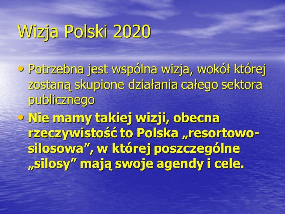 Wizja Polski 2020 Potrzebna jest wspólna wizja, wokół której zostaną skupione działania całego sektora publicznego Potrzebna jest wspólna wizja, wokół