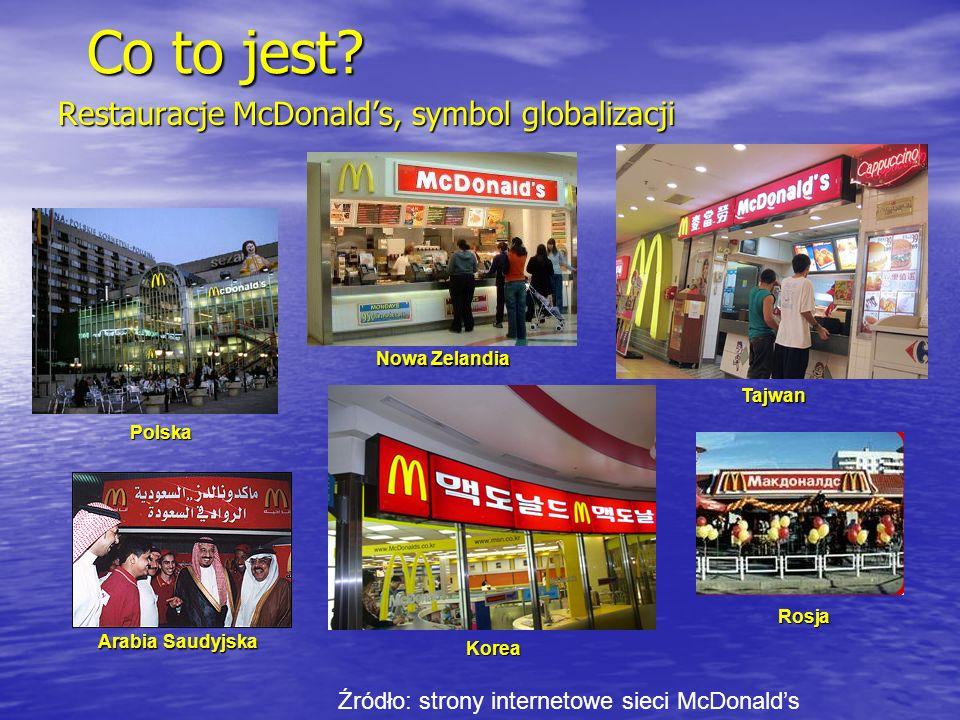 Restauracje McDonalds, symbol globalizacji Polska Korea ArabiaSaudyjska Arabia Saudyjska Nowa Zelandia Rosja Tajwan Źródło: strony internetowe sieci M