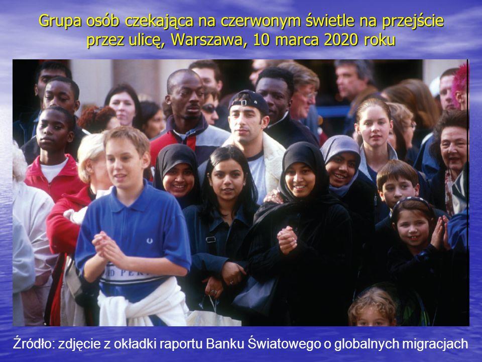 Grupa osób czekająca na czerwonym świetle na przejście przez ulicę, Warszawa, 10 marca 2020 roku Źródło: zdjęcie z okładki raportu Banku Światowego o