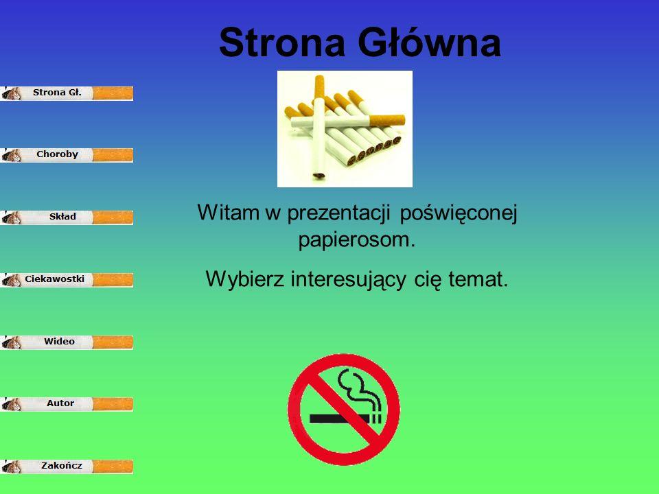 Witam w prezentacji poświęconej papierosom. Wybierz interesujący cię temat. Strona Główna