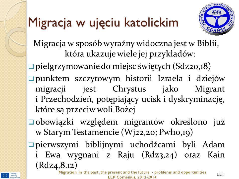 Migracja w ujęciu katolickim Migracja w sposób wyraźny widoczna jest w Biblii, która ukazuje wiele jej przykładów: pielgrzymowanie do miejsc świętych