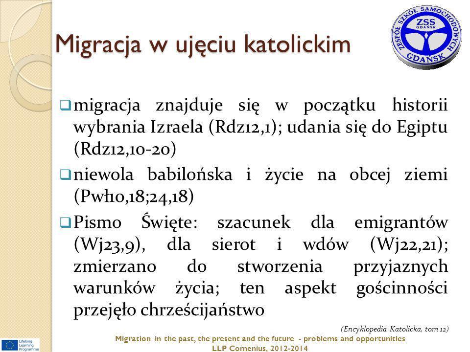 Migracja w ujęciu katolickim migracja znajduje się w początku historii wybrania Izraela (Rdz12,1); udania się do Egiptu (Rdz12,10-20) niewola babilońs