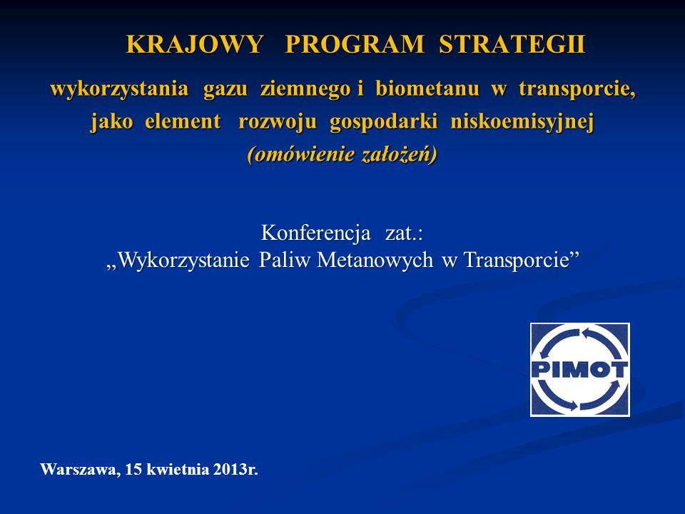 KRAJOWY PROGRAM STRATEGII wykorzystania gazu ziemnego i biometanu w transporcie, jako element rozwoju gospodarki niskoemisyjnej (omówienie założeń) Wa
