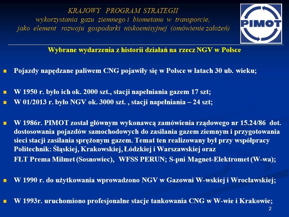 Wybrane wydarzenia z historii działań na rzecz NGV w Polsce Pojazdy napędzane paliwem CNG pojawiły się w Polsce w latach 30 ub. wieku; W 1950 r. było