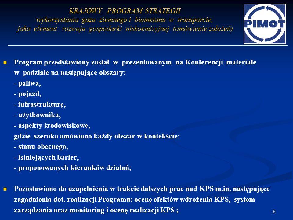 Program przedstawiony został w prezentowanym na Konferencji materiale w podziale na następujące obszary: - paliwa, - pojazd, - infrastrukturę, - użytk