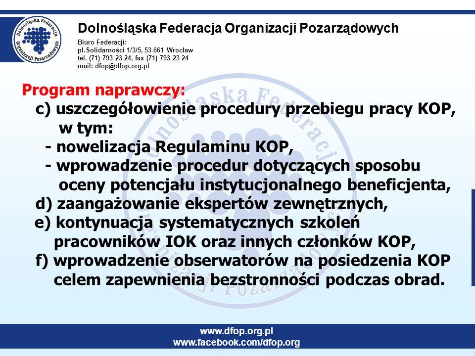 Biuro Federacji: pl.Solidarności 1/3/5, 53-661 Wrocław tel. (71) 793 23 24, fax (71) 793 23 24 mail: dfop@dfop.org.pl Dolnośląska Federacja Organizacj
