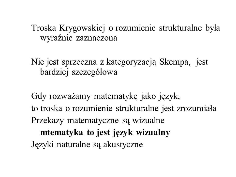 Troska Krygowskiej o rozumienie strukturalne była wyraźnie zaznaczona Nie jest sprzeczna z kategoryzacją Skempa, jest bardziej szczegółowa Gdy rozważa