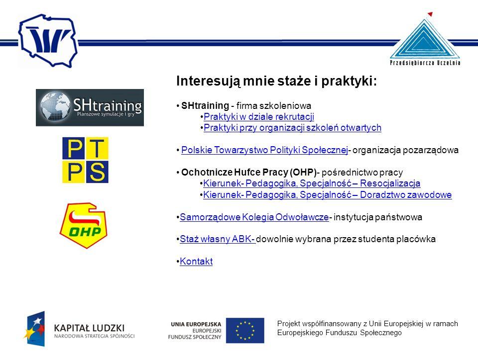 Interesują mnie staże i praktyki: SHtraining - firma szkoleniowa Praktyki w dziale rekrutacjiPraktyki w dziale rekrutacji Praktyki przy organizacji sz