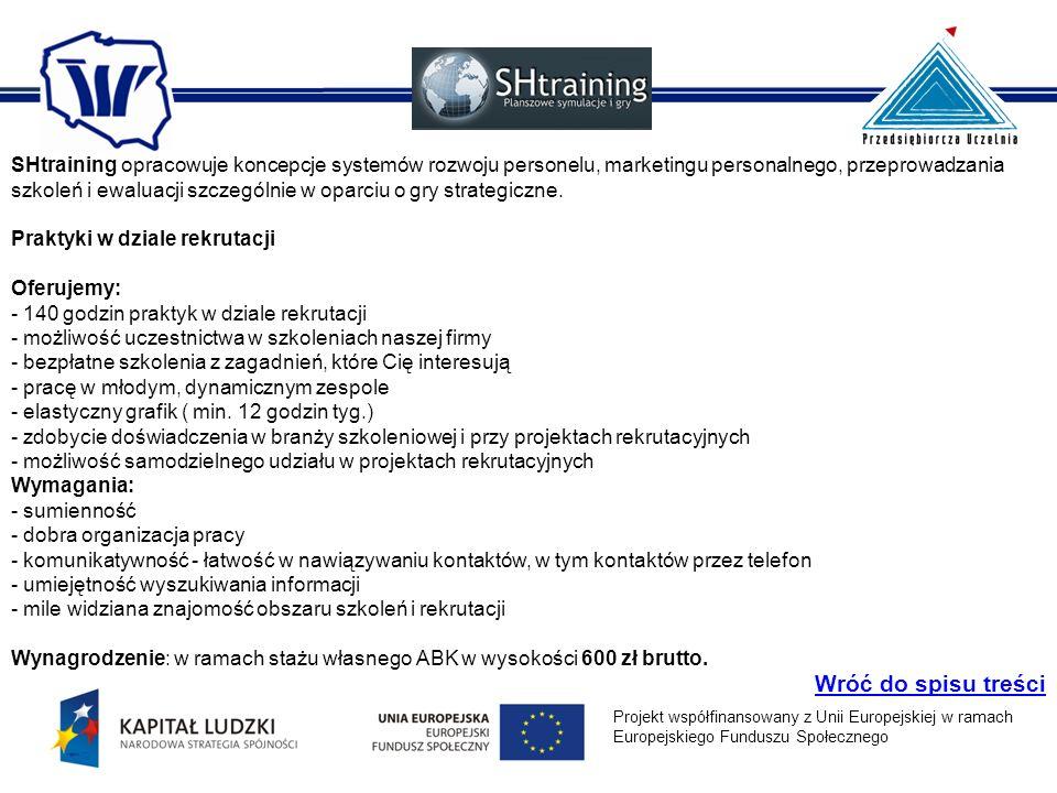 SHtraining opracowuje koncepcje systemów rozwoju personelu, marketingu personalnego, przeprowadzania szkoleń i ewaluacji szczególnie w oparciu o gry strategiczne.