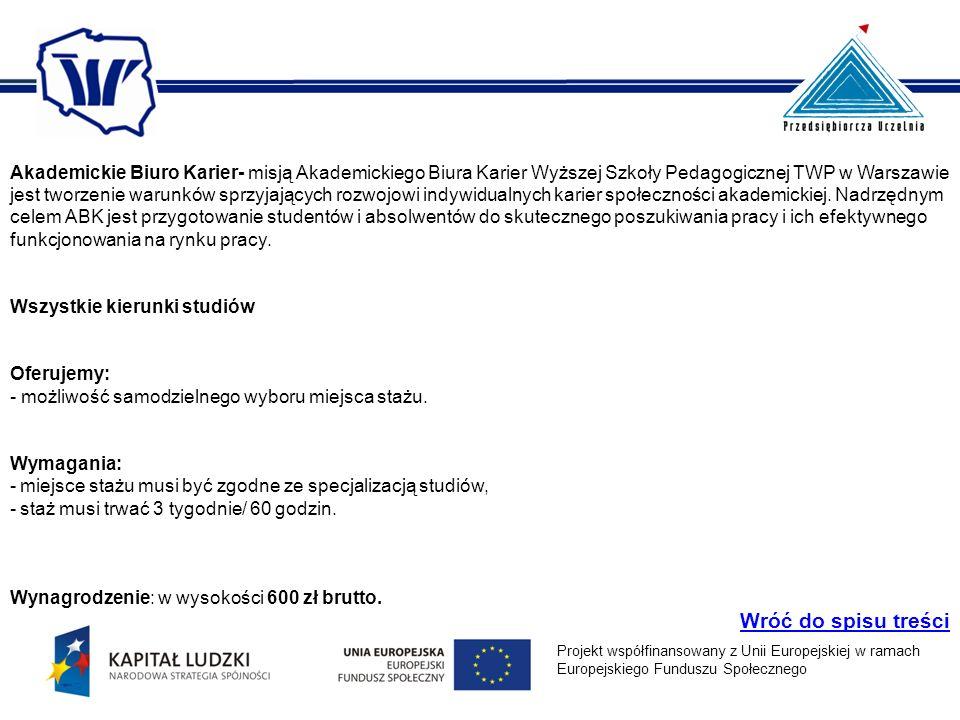 Akademickie Biuro Karier- misją Akademickiego Biura Karier Wyższej Szkoły Pedagogicznej TWP w Warszawie jest tworzenie warunków sprzyjających rozwojowi indywidualnych karier społeczności akademickiej.