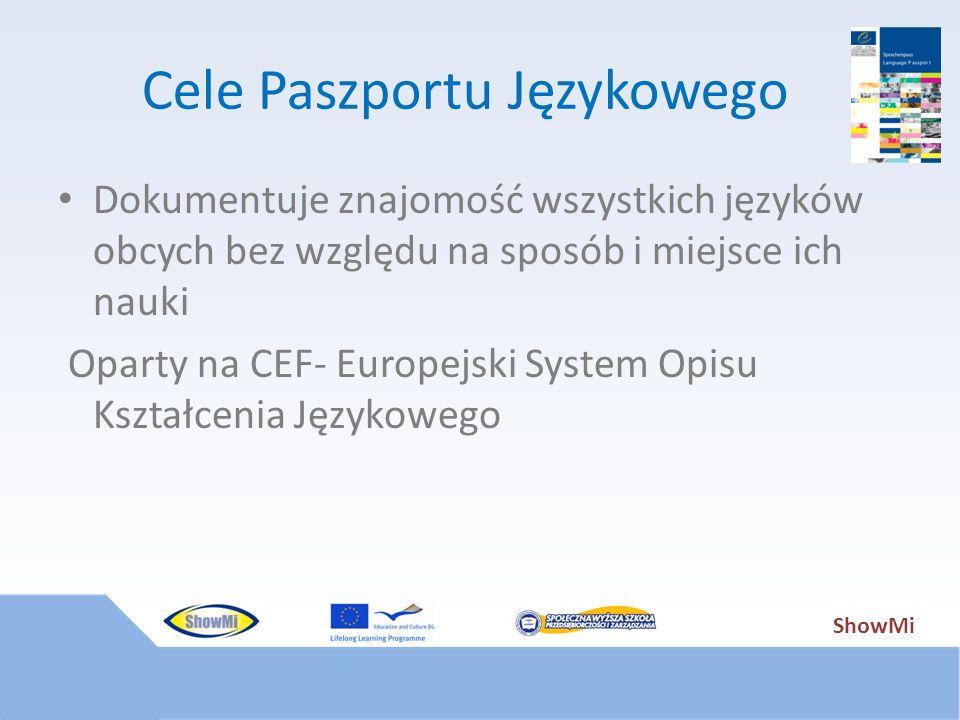 Cele Paszportu Językowego Dokumentuje znajomość wszystkich języków obcych bez względu na sposób i miejsce ich nauki Oparty na CEF- Europejski System O
