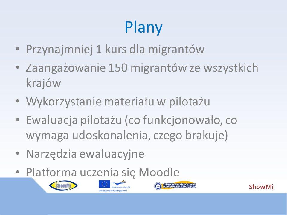 ShowMi Plany Przynajmniej 1 kurs dla migrantów Zaangażowanie 150 migrantów ze wszystkich krajów Wykorzystanie materiału w pilotażu Ewaluacja pilotażu