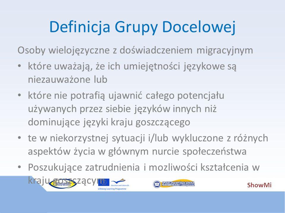 ShowMi Definicja Grupy Docelowej Osoby wielojęzyczne z doświadczeniem migracyjnym które uważają, że ich umiejętności językowe są niezauważone lub któr
