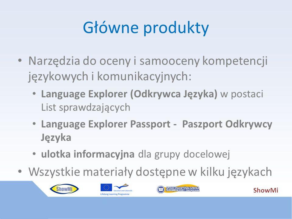 ShowMi Główne produkty Narzędzia do oceny i samooceny kompetencji językowych i komunikacyjnych: Language Explorer (Odkrywca Języka) w postaci List spr