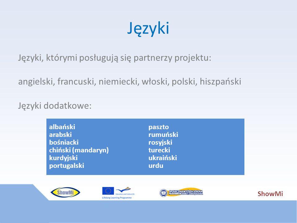 ShowMi Języki Języki, którymi posługują się partnerzy projektu: angielski, francuski, niemiecki, włoski, polski, hiszpański Języki dodatkowe: albański
