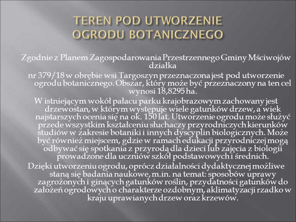 Zgodnie z Planem Zagospodarowania Przestrzennego Gminy Mściwojów działka nr 379/18 w obrębie wsi Targoszyn przeznaczona jest pod utworzenie ogrodu bot