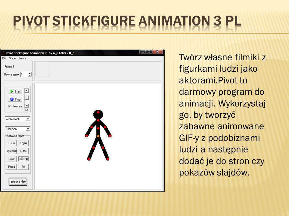 Twórz własne filmiki z figurkami ludzi jako aktorami.Pivot to darmowy program do animacji. Wykorzystaj go, by tworzyć zabawne animowane GIF-y z podobi