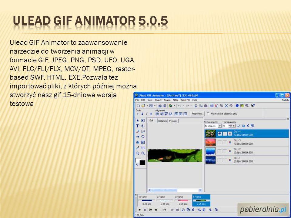 Ulead GIF Animator to zaawansowanie narzedzie do tworzenia animacji w formacie GIF, JPEG, PNG, PSD, UFO, UGA, AVI, FLC/FLI/FLX, MOV/QT, MPEG, raster-