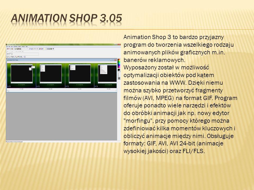 Animation Shop 3 to bardzo przyjazny program do tworzenia wszelkiego rodzaju animowanych plików graficznych m.in. banerów reklamowych. Wyposażony zost