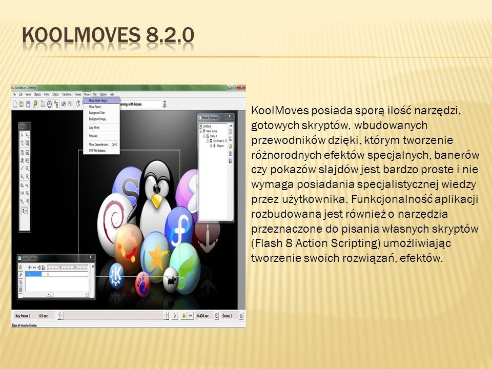 KoolMoves posiada sporą ilość narzędzi, gotowych skryptów, wbudowanych przewodników dzięki, którym tworzenie różnorodnych efektów specjalnych, banerów