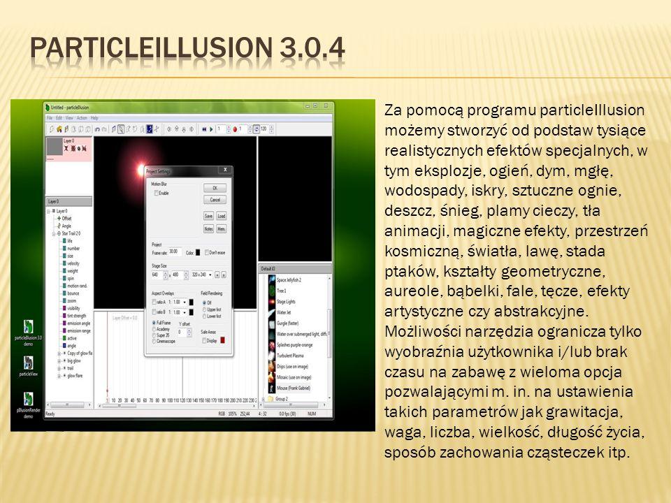 Za pomocą programu particleIllusion możemy stworzyć od podstaw tysiące realistycznych efektów specjalnych, w tym eksplozje, ogień, dym, mgłę, wodospad