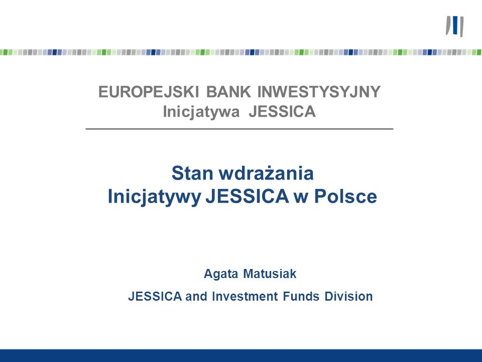 Instytucja Zarządzająca Fundusz Powierniczy JESSICA (zarządzany przez EBI) FROM Wkład z RPO Projekty Miejskie Przekazanie środków do FROM Pożyczki, wkłady kapitałowe, gwarancje dla projektów Środki spłacane przez projekty do FROM Schemat wdrażania JESSICA Finansowanie projektów miejskich za pomocą zwrotnych instrumentów finansowych w formie pożyczek, wkładów kapitałowych i gwarancji - Wkład z RPO (główne źródło) - Możliwość wykorzystania innych źródeł finansowania (na poziomie FROM lub projektu miejskiego) Projekty muszą spełniać kryteria określone w RPO i być ujęte w Zintegrowanych Planach Rozwoju Obszarów Miejskich (ZIPROM) FROM są wybierane przez Managera Funduszu Powierniczego, wybór jest zatwierdzany przez Radę Inwestycyjną