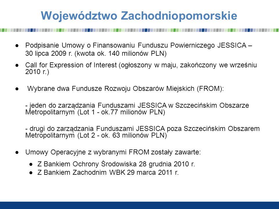 Województwo Zachodniopomorskie Podpisanie Umowy o Finansowaniu Funduszu Powierniczego JESSICA – 30 lipca 2009 r. (kwota ok. 140 milionów PLN) Call for